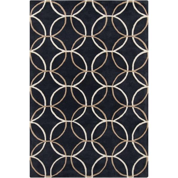 Allie Handmade Geometric Black Wool Rug (5' x 7'6)
