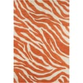Allie Handmade Abstract Orange/Cream Wool Rug (5' x 7'6)