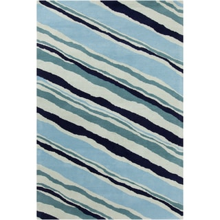 Allie Modern Handmade Abstract Blue Wool Rug (5' x 7'6)