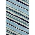 Allie Modern Handmade Abstract Blue Wool Rug (5' x 7'6)