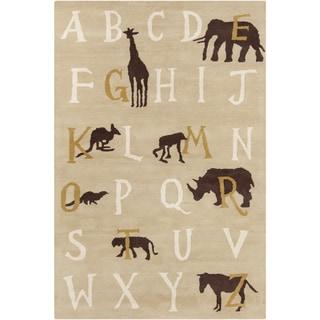 Allie Handmade Alphabet Pattern Wool Rug (5' x 7'6)