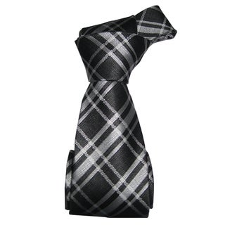 Dmitry Men's Black-and-White Patterned Italian Silk Tie