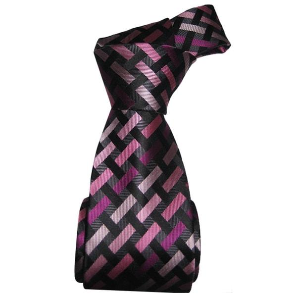 Dmitry Men's Pink Patterned Italian Silk Tie