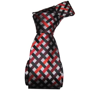 Dmitry Men's Red and Grey Patterned Italian Silk Tie