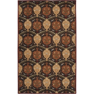 Hand-tufted Usak Dark Olive Brown Wool Rug (9' x 12')