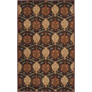 Hand-tufted Usak Dark Olive Brown Wool Rug (9' x 12')