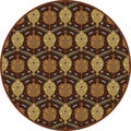 Hand-tufted Usak Dark Olive Brown Wool Rug (8' Round)