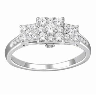 De Couer 10k White Gold 3/4ct TDW Diamond Engagement Ring (H-I, I2)
