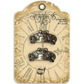 Staples Ornate Metal Door Pulls 2/Pkg-Antique Brass With 4 Brads
