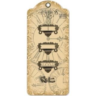 Staples Ornate Metal Label Holders 3/Pkg-Antique Brass With 6 Brads