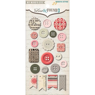Lost & Found 3 Ruby Decorative Buttons-
