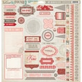 "Lost & Found 3 Ruby Chipboard Accessories 12""X12""-"