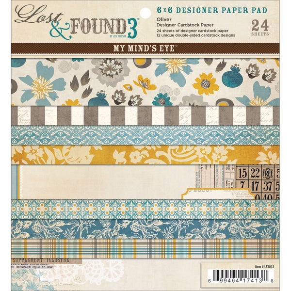 """Lost & Found 3 Oliver Designer Paper Pad 6""""X6"""" 24/Sheets-12 Double-Sided Designs/2 Each"""