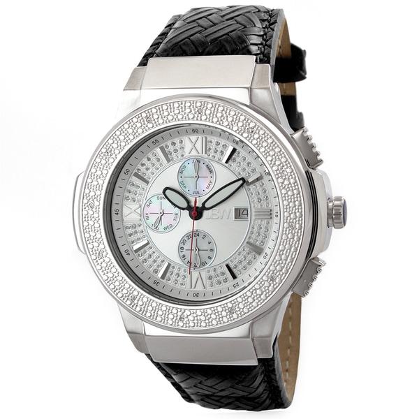 JBW Men's Stainless Steel 'Saxon' Braided Leather Watch