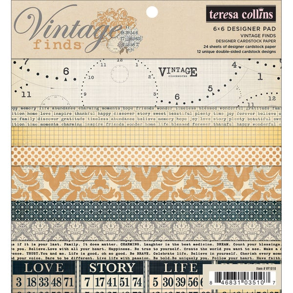 "Vintage Finds Designer Cardstock Pad 6""X6""-24 Double-Sided Sheets"