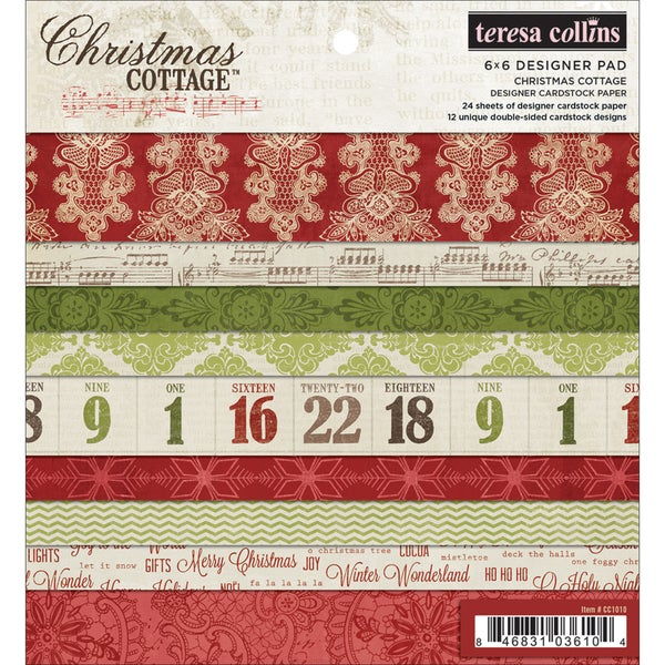 """Christmas Cottage Designer Cardstock Pad 6""""X6""""-24 Double-Sided Sheets"""
