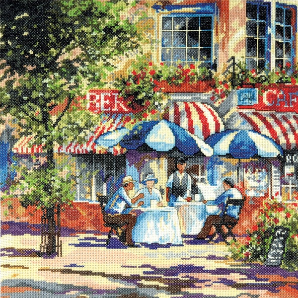 "Cafe In The Sun Counted Cross Stitch Kit-14""X14"" 14 Count"