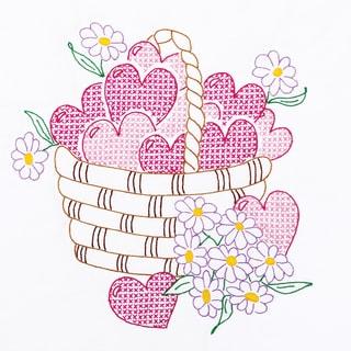 "Stamped White Quilt Blocks 18""X18"" 6/Pkg-Basket Of Hearts"