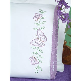 Stamped Pillowcases With Hemstitched Edge 2/Pkg-Butterflies
