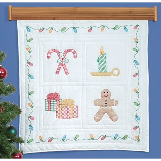 "Stamped White Wall Or Lap Quilt 36""X36""-Christmas Window"