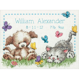 """Pet Friends Baby Birth Record Counted Cross Stitch Kit-12""""X9"""" 14 Count"""
