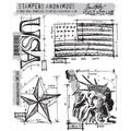 Tim Holtz Cling Rubber Stamp Set-Americana Blueprint