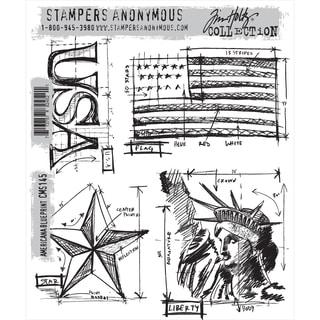 Tim Holtz Cling Rubber Stamp Set-Americana Blueprint