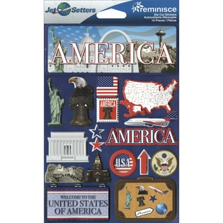"Jet Setters International Dimensional Stickers 4.5""X6.75""-America"