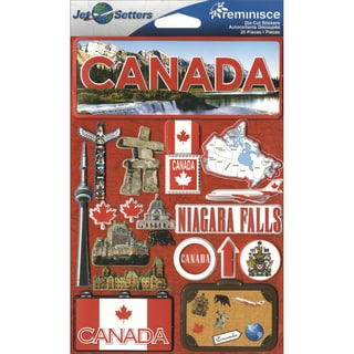 "Jet Setters International Dimensional Stickers 4.5""X6.75""-Canada"