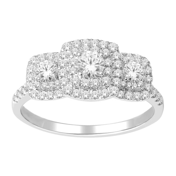 De Couer 10k White Gold 1ct TDW Diamond Halo 3-stone Engagement Ring (H-I, I2)