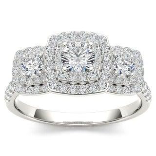 De Couer 10k White Gold 1ct TDW Diamond Halo 3-stone Engagement Ring (H-I, I2)