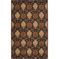 Hand-tufted Usak Dark Olive Brown Wool Rug (7'6 x 9'6)