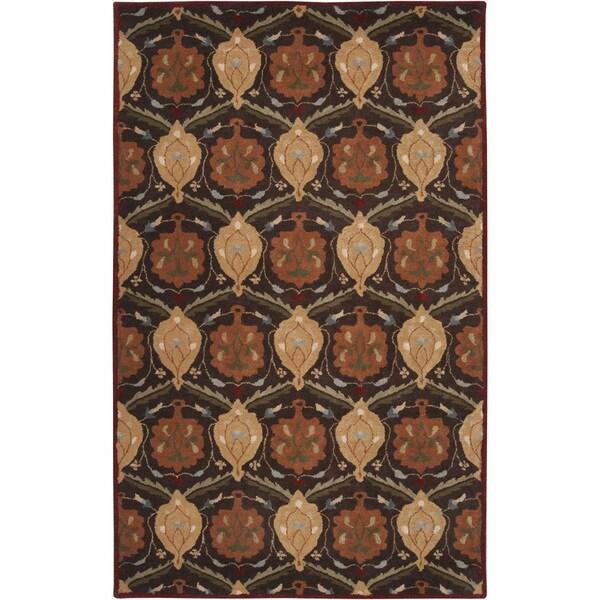 Hand-tufted Usak Dark Olive Brown Wool Rug (7'6 x 9'6)