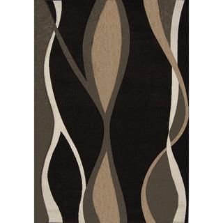 New Waves Black Geometric Rug