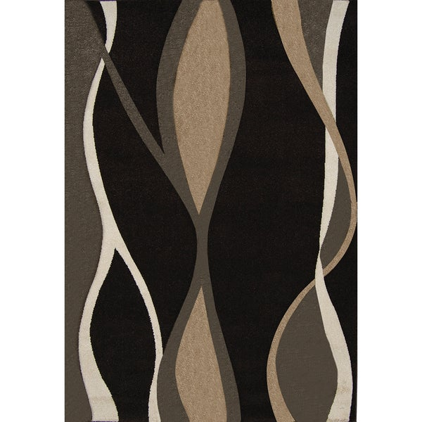 New Waves Black Geometric Rug
