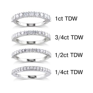 Miadora 14k White Gold 1/4 to 1ct TDW Round Diamond Wedding Band (G-H, I1-I2)