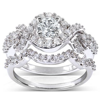 Annello 14k White Gold 1 1/4ct TDW Diamond Braided Bridal Ring Set (H-I, I1-I2)