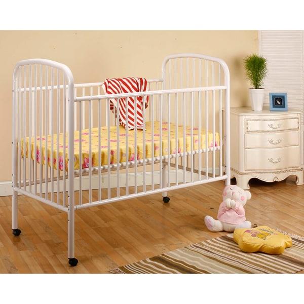 K&B White Convertible Metal Crib/ Toddler Bed
