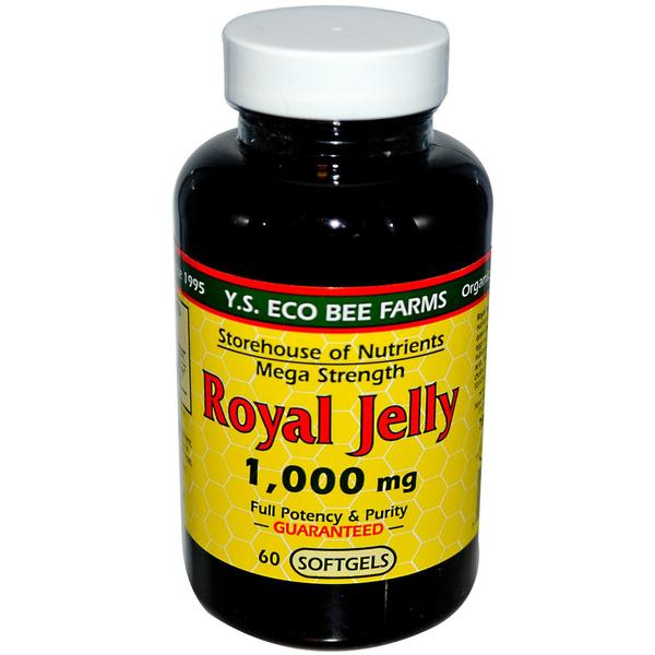 YS Eco Bee Farms Organic Royal Jelly 1000 mg (60 Softgels)