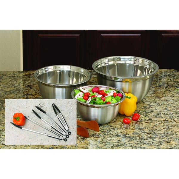 ExcelSteel Stainless Steel Mixing Bowl and Tongs Set