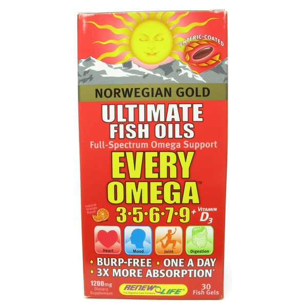 Norwegian Gold Every Omega 3, 5, 6, 7, 9 with Vitamin D3 30-count