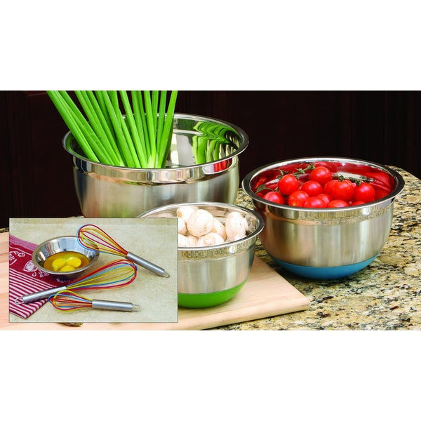 Multicolored Whisk and Non-Skid Bowl Set