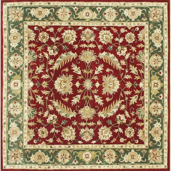 Alliyah Handmade Burgundy New Zealand Blend Wool Rug (10' Square)