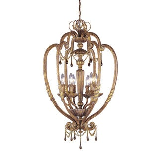 Aztec Lighting Transitional 6-light Island Gold Foyer Pendant with Amber Drop Accents