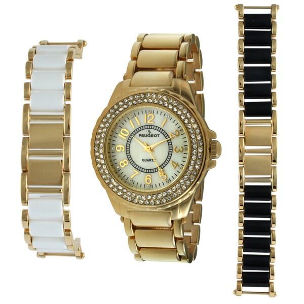 Peugeot Women's Goldtone Steel Interchangeable Bracelet Watch