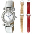 Peugeot Women's Crystal Pave Dial Interchangeable Strap Watch
