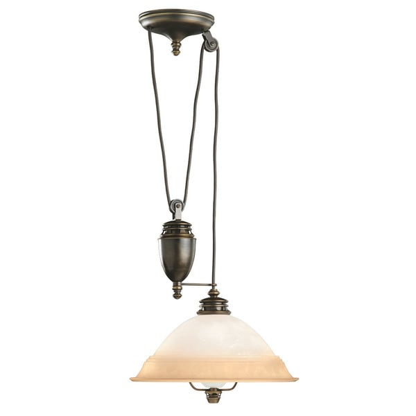 Transitional 1-light Brass Pull-down Pendant Light Fixture