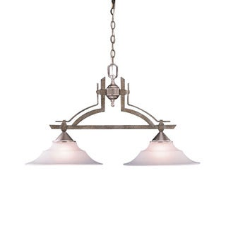 Transitional 2-light Tuscan Gold Island Light Fixture