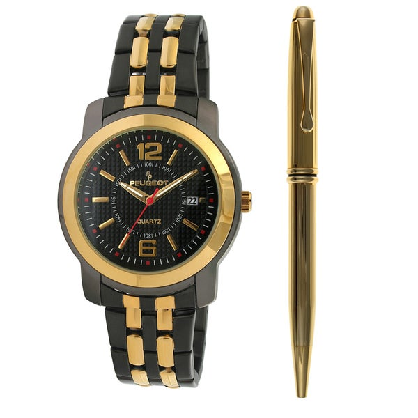 Peugeot Men's Two-tone Steel Watch and Pen Set