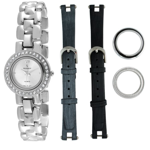 Peugeot Women's Steel Interchangeable Bezel and Strap Watch Set